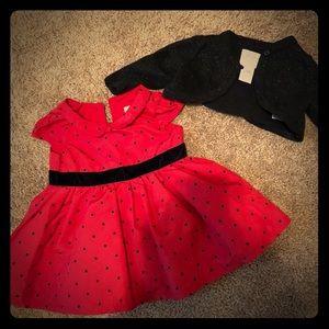 Baby girls Carter's dress and cardigan (GUC)